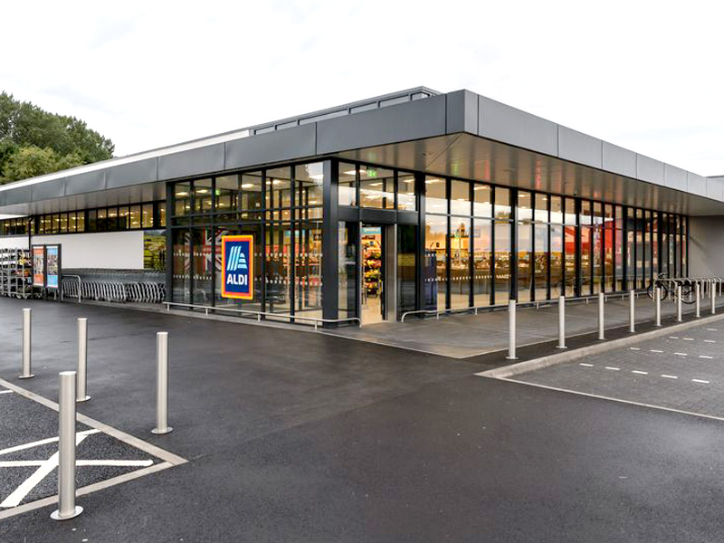 Installation of Wetherby Render and Wetherby Insulated Render to Aldi corporate specification at various locations